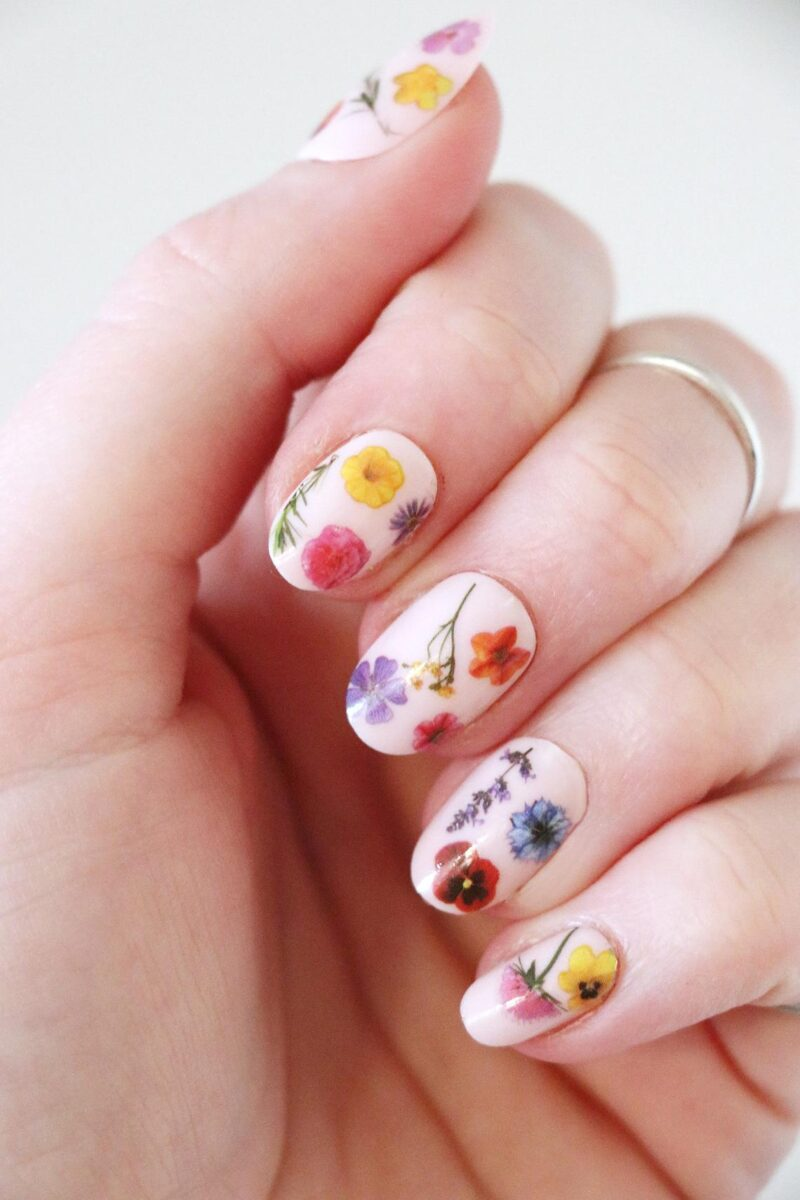Colorful Flowers Nail Tattoos Decals