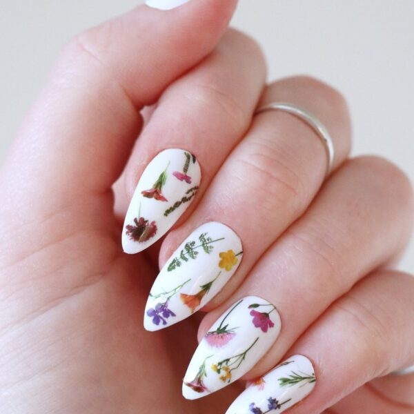 Colorful Flowers On Stem Nail Tattoos Decals
